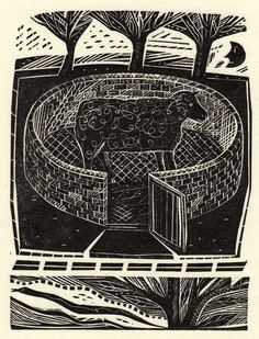 Jonathon Gibbs - Black Sheep. Wood engraving