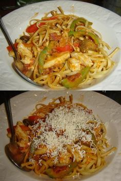Nelson @ East Side Mario's: This Linguine Chicken Amatriciana with thinly sliced seasoned chicken simmered with bacon, mushrooms, peppers, g...