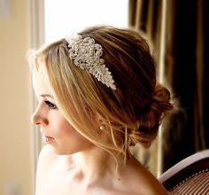 Lace Crystal Headband  Bridal Wedding Accessories by FleursdeParis, $65.00