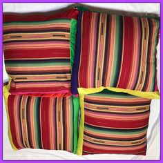 "Colorful Fiesta Theme Cinco De Mayo Party Pillows 17x17"" Set of 4 by ParkVintageVillage on Etsy"