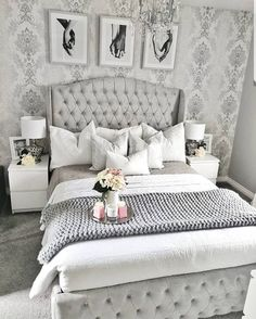 30 Amazingly Beautiful Silver Bedroom Ideas That Are The Current Trend - Silver Grey Bedroom Design - Silver And Grey Bedroom, White Bedroom, Silver Bedroom Decor, Master Bedroom Grey, Grey Bedrooms, Home Decor Bedroom, Bedroom Furniture, Bedroom Ideas, Furniture Sets