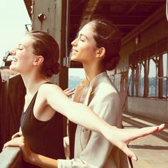 """Crystal Schreiner / crystalschreiner  """"#DoTheTitanic .. Ya we did that #backstage with sweethearts @Jessica Clements and @mayzonshain ! #fly away in love on #pier92 #behindthescenes #fun #catherinemalandrino #ss14 #nyfw #FONYFW @malandrinobuzz @FacesOfNYFW .com @Mercedes-Benz Fashion Week"""" by crystalschreiner, Tuesday, September 10, 6:15pm"""