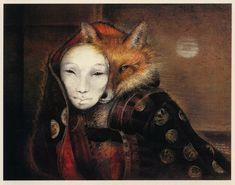 Fox Maiden by Susan Seddon Boulet The subject is a kitsune, a shape-shifting fox spirit.