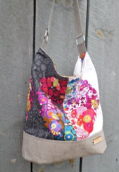 Bucket bag with Kraft Tex accents - Ready to Ship  This colourful slouchy bucket bag was meticulously handcrafted using vegan Kraft Tex accents and