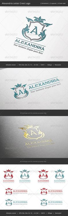 Alexandria Letter Crest Logo — Vector EPS #throne #investment • Available here → https://graphicriver.net/item/alexandria-letter-crest-logo/7087080?ref=pxcr