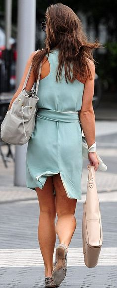 Looking mint! Pippa Middleton is elegant in summery green dress, and it was a cut-price bargain at just £140 too. 4/8/13