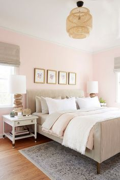 45 Cute And Girly Pink Bedroom Design For Your Home. Girls bedroom designs can really show off who your daughter is and who she wants to be. It a chance to experiment with design and just have fun. Dusty Pink Bedroom, Pink Bedroom Walls, Pink Bedroom Design, Pink Bedroom Decor, Pink Bedroom For Girls, Girl Bedroom Designs, Bedroom Colors, Pink Master Bedroom, Rose Bedroom