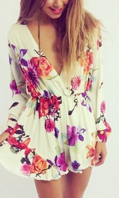 Long-Sleeve Floral Romper