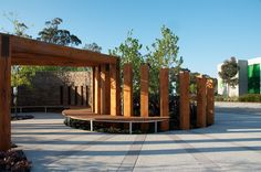 Timber pergola framing the entrance to the sitting area by TLC Pools & Landscape