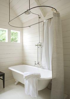 bathroom haven via Gardener & Marks . shower curtain rod clawfoot tub: upstairs bathroom Simple and loving. Bad Inspiration, Bathroom Inspiration, Bathroom Renos, Small Bathroom, White Bathrooms, Bathroom Ideas, Modern Bathroom, Dream Bathrooms, Bathroom Cabinets