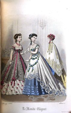 Dresses during the Crinoline period were usually two pieces including a gathered or pleated skirt and a dropped shoulder line. - Historic