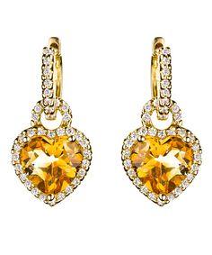 Diamond and Citrine #Heart Earrings