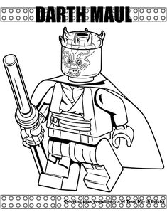 Coloring Page - Darth Maul - True North Bricks Star Coloring Pages, Coloring Pages To Print, Coloring Pages For Kids, Coloring Books, Kids Coloring, Colouring, Star Wars Colors, Color Wars, Star Wars Stencil