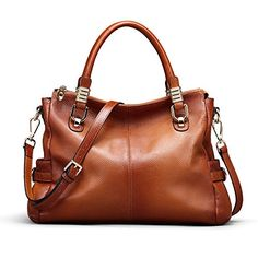 online shopping for S-ZONE Women's Vintage Genuine Leather Tote Shoulder Bag Top-handle Crossbody Handbags Ladies Purse from top store. See new offer for S-ZONE Women's Vintage Genuine Leather Tote Shoulder Bag Top-handle Crossbody Handbags Ladies Purse Shoulder Purse, Shoulder Handbags, Leather Shoulder Bag, Shoulder Strap, Leather Purses, Leather Handbags, Brown Handbags, Cuir Vintage, Vintage Leather
