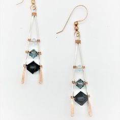 Kimberly Newman's Fading Ladder Earrings, . , . Simple but dynamic ladder earrings that sparkle with crystals of changing hues of color.