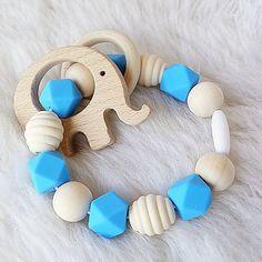 miskajulo / Krúžok silikón s drevom na kúsanie Maťko (so sloníkom)