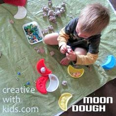 Make a moon dough treasure hunt- simple preschool sensory activity