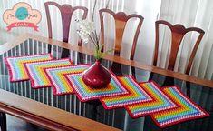 graficos de caminhos de mesa em croche com rosetas - Pesquisa Google