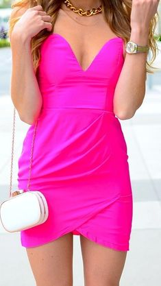 Strapless Bodycon Pink Party Club Dress