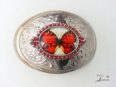 butterfly belt buckle, orange, Western, Vintage rhinestones, Pearls, Gift for her, Free shipping