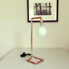 new copper pipe lamp designed and made by michael guy