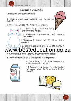 countable or uncountable - Grade 6 English www.besteducation.co.za Worksheets, English, Education, English English, Literacy Centers, English Language, Educational Illustrations, Learning, Onderwijs