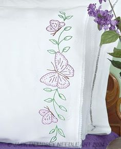 Butterflies Lace Edge Pillowcases #embroidery #embroiderybyhand #JDNA #butterflies