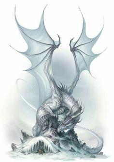 Dragon By Drake Alexander Mythical Creatures Art, Mythological Creatures, Magical Creatures, Fantasy Creatures, Ice Dragon, Dragon Sketch, Cool Dragons, Dragon's Lair, Dragon Artwork