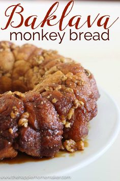 Baklava Monkey Bread Recipe- this is a delicious dessert! Made with /pillsbury/ Grands! #warmtraditions #ad