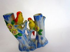 Parakeets in porcelain Occupied Japan vase with birds by clcort, $24.00