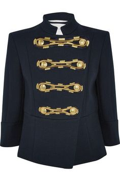 """Perfect for work, rest and play, military looks are the easiest – and chicest – update to make,"" says The EDIT. Pierre Balmain's navy jacket is decorated with a streak of gold buttons and embroidered to resemble frogging. It's tailored from structured cotton-twill with defined shoulders and a slight peplum. Style yours with a T-shirt and jeans."