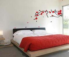 papel de parede vermelho no quarto