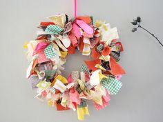 Scrap Fabric Wreath by emilyonasunday, via Flickr Thanksgiving Wreaths, Holiday Wreaths, Wreath Crafts, Wreath Ideas, Spring Crafts, Scrap Fabric, Extra Fabric, Fabric Scraps, Scrap Material