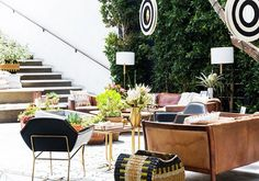 Outdoor space with modern furniture and nomadic accessories