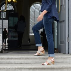 """wander, wonder! Open toe strappy """"WANDA"""" wedge sandals with back strap...  #sustainable"""
