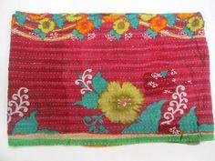 Vintage Kantha Quilt Old Sari Patchwork Bedspread Throw ralli Hand Quilt Throw I #Handmade #AntiqueStyle