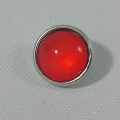 1 PC - 12MM Bright Red Glass Dome Silver Charm for Candy Snap Jewelry Limited Edition CC0018