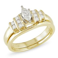 1/2 CT. T.W. Marquise Diamond Bridal Set in 14K Two-Tone Gold - Zales