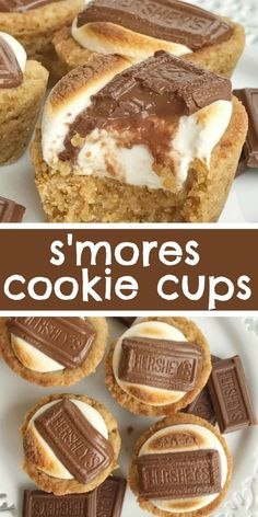 S'mores cookie cups are baked in a mini muffin pan. Graham cracker cookie base, with a toasted marshmallow, and a piece of gooey chocolate on top! Now you can enjoy campfire toasty s'more all year round for dessert. desserts S'mores Cookie Cups Chocolate Cookie Recipes, Easy Cookie Recipes, Sweet Recipes, Chocolate Chips, Muffin Recipes, Chocolate Eclairs, Cookie Base Recipe, Non Chocolate Desserts, Chocolate Candies