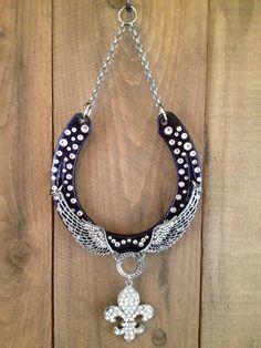 LUCKY HORSESHOE horseshoe art purple fleur de lis by LuckAdorned, $90.00