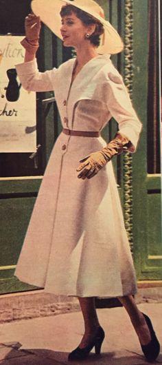 Marcel Rochas- 1951 White 3/4 sleeve coat dress. Elle No. 288- June 4, 1951