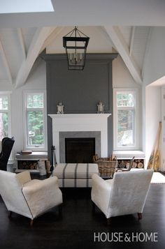 shelves under window in new living room with grey above fireplace Fireplace Accent Walls, Fireplace Feature Wall, Grey Fireplace, Living Room With Fireplace, Fireplace Design, My Living Room, Home And Living, Living Spaces, Fireplace Seating
