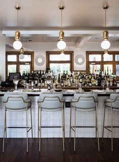 Great bar and kitchen design ideas are not all about the overall look of the room! Time to discover upholstered bar stools. Bar Interior, Restaurant Interior Design, Commercial Interior Design, Design Hotel, Commercial Furniture, Lobby Interior, Restaurant Interiors, Lobby Design, Design Interiors