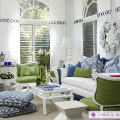 White, oldfashioned green and blue; great combination for living room