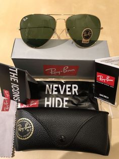 bebf92de40a99 Ray Ban Sunglasses Green Lens   Gold Frame Aviator RB3025 62mm Standard  Size  fashion