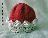 Knitting pattern for Christmas Hats-Children Clothing-Knitted Baby Cloche-Hand Knitted BABY HAT PATTERNS-Christmas Colors. $4.99, via Etsy.