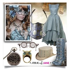 """Atomic Jane Clothing"" by atomic-jane ❤ liked on Polyvore featuring Overland Sheepskin Co., steampunk, steam and underbust"