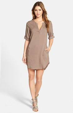 Side Stitch Roll Sleeve Chambray Shift Dress available at #Nordstrom