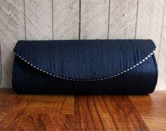 Navy blue clutch blue and white rockabilly clutch polka by toriska