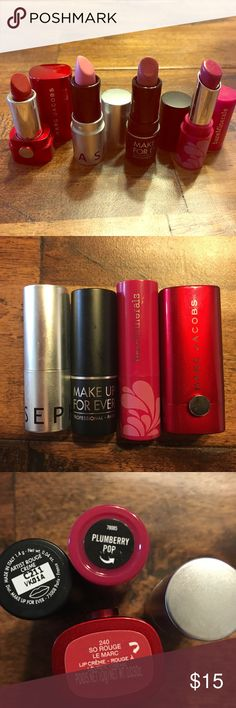Travel size lipsticks-  marc Jacobs Travel size lipsticks- marc Jacobs, bare minerals, Sephora, make up forever Makeup Forever Makeup Lipstick
